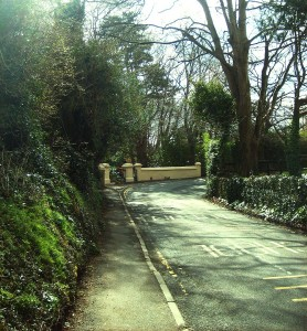 The corner with the white posts to the entrance of 'Kindelstown House' on the Chapel road, Delgany, Co.Wicklow, Ireland