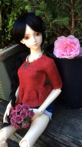 Kimiko showing the finished red peplum