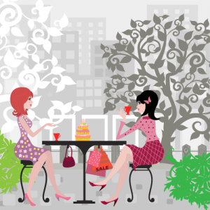© skym- Floral girls cafe vector
