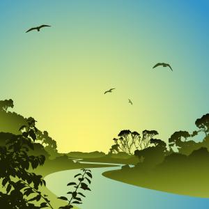 © Binkski - Landscape with river vector