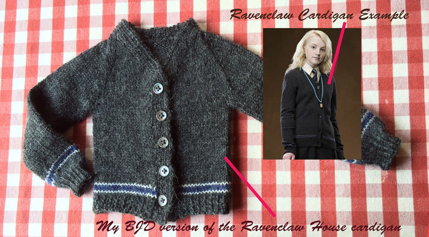 Knitting a Ravenclaw Cardigan for a BJD