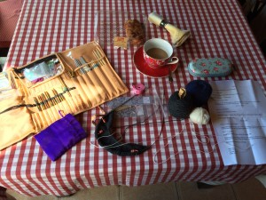 Sunday morning knitting at the kitchen table