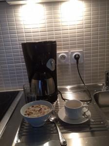 Preparing my breakfast in my apartment at Odalys.